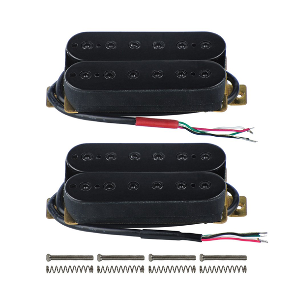 FLEOR Alnico 5 Electric Guitar Neck & Bridge Pickup Set Double Coil Humbucker Pickups-Black