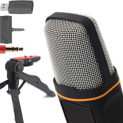 ZaxSound Professional Cardioid Condenser Microphone with Tripod Stand for PC